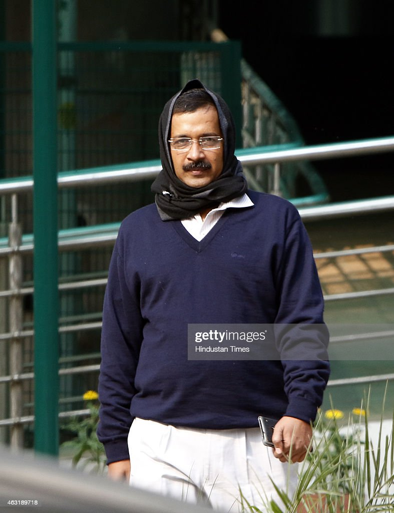 Chief Minister-designate Arvind Kejriwal arrives for the meeting with Home Minister Rajnath Singh on February 11, 2015 in New Delhi, India. Kejriwals party, AAP, made a clean sweep of the Delhi assembly polls winning 67 of the 70 seats on offer and decimated rivals BJP and Congress. The swearing-in ceremony will be held at Ramlila Maidan on February 14.