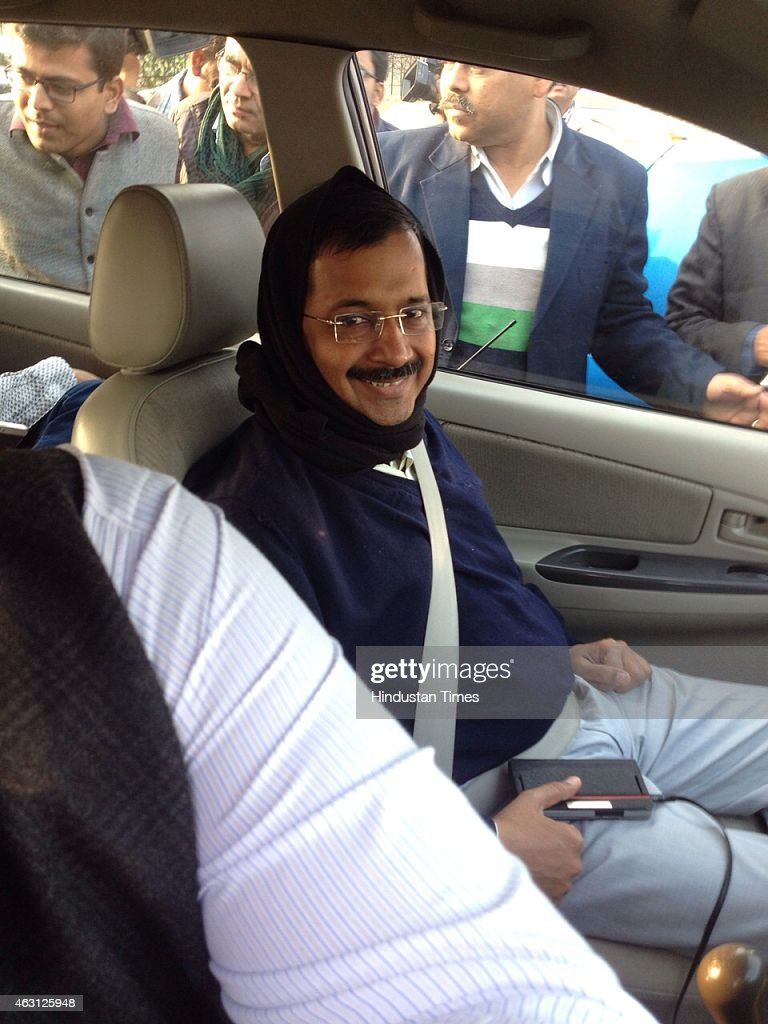 AAP Chief Ministerial candidate <a gi-track='captionPersonalityLinkClicked' href=/galleries/search?phrase=Arvind+Kejriwal&family=editorial&specificpeople=5980396 ng-click='$event.stopPropagation()'>Arvind Kejriwal</a> arrives at the Patel Nagar party office on February 10, 2015 in New Delhi, India. Prime Minister Narendra Modi suffers his first major election defeat since becoming prime minister last May as anti-corruption campaigner <a gi-track='captionPersonalityLinkClicked' href=/galleries/search?phrase=Arvind+Kejriwal&family=editorial&specificpeople=5980396 ng-click='$event.stopPropagation()'>Arvind Kejriwal</a> wins a landslide victory in Delhi state polls. AAP won in 67 seats while BJP managed to win only in 3 seats.