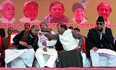 Chief Mulayam Singh RJD president Lalu Prasad Yadav JDU President Sharad Yadav and SP leader Azam Khan during the protest by Janta Parivar against...