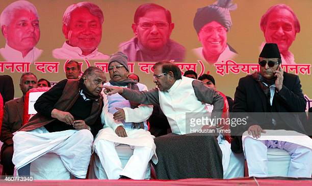 Chief Mulayam Singh RJD president Lalu Prasad Yadav JDU President Sharad Yadav and SP leader Azam Khan during the protest by Janta Parivar against...