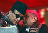 Chief Mulayam Singh talking with SP leader Azam Khan during the protest by Janta Parivar against Modi Government at Jantar Mantar on December 22 2014...