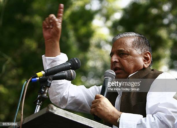 Chief Mulayam Singh Yadav speaks during the protest at Jantar Mantar in New Delhi on Thursday November 19 2009