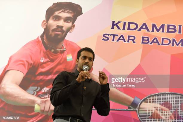 Chief National Coach for Indian Badminton Team P Gopichand speaks at the felicitation of Indian Badminton Player Srinkanth Kidambi Union Sports...