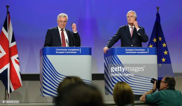 Chief negotiator for the European Union Michel Barnier and Secretary of State for Exiting the European Union David Davis hold a joint press...