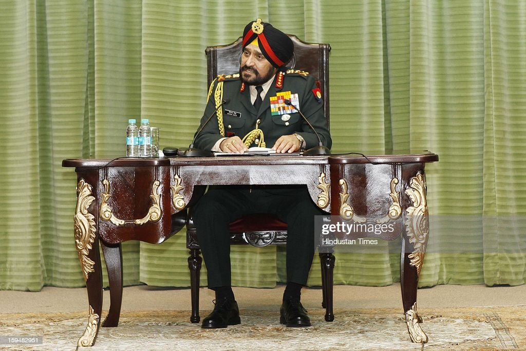 Chief of Army Staff, General Bikram Singh addressing a press conference on January 14, 2013 in New Delhi, India. Talking tough, the Indian Army Chief said the killing of two Indian soldiers on the LoC in Mendhar area of Jammu and Kashmir on January 6 was a pre-planned and pre-meditated action by Pakistani troops and India reserves the right to retaliate at 'time and place of its choice'. A Flag meeting was held between the Pakistani and Indian army commanders at the LoC to resolve the issue.