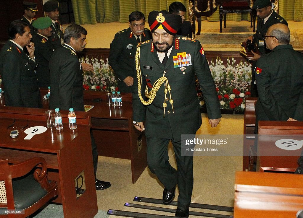Chief of Army Staff, General Bikram Singh arrives at a press conference on January 14, 2013 in New Delhi, India. Talking tough, the Indian Army Chief said the killing of two Indian soldiers on the LoC in Mendhar area of Jammu and Kashmir on January 6 was a pre-planned and pre-meditated action by Pakistani troops and India reserves the right to retaliate at 'time and place of its choice'. A Flag meeting was held between the Pakistani and Indian army commanders at the LoC to resolve the issue.