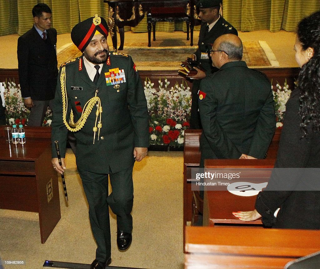 Chief of Army Staff, General Bikram Singh arrives at press conference on January 14, 2013 in New Delhi, India. Talking tough, the Indian Army Chief said the killing of two Indian soldiers on the LoC in Mendhar area of Jammu and Kashmir on January 6 was a pre-planned and pre-meditated action by Pakistani troops and India reserves the right to retaliate at 'time and place of its choice'. A Flag meeting was held between the Pakistani and Indian army commanders at the LoC to resolve the issue.