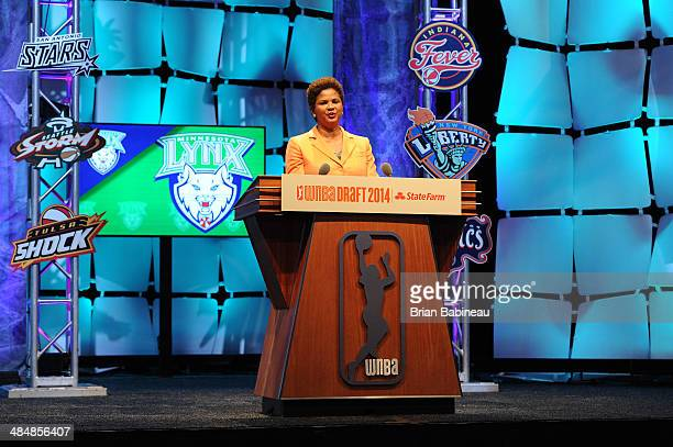 Chief of Basketball Operations and Player Relations Renee Brown addresses the crowd during the 2014 WNBA Draft Presented By State Farm on April 14...