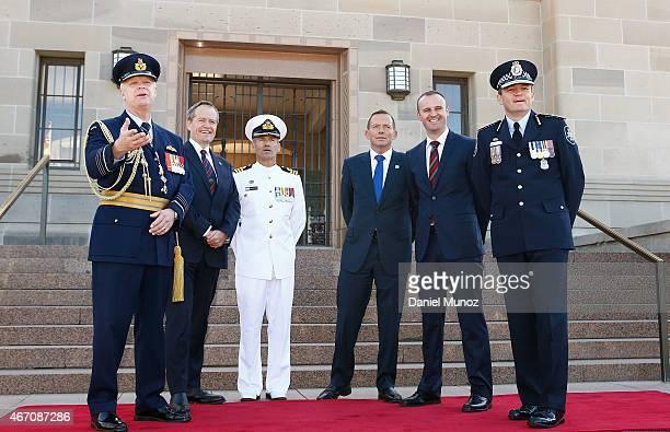 Chief of Defence Force Air Chief Marshal Mark Binskin Australian Opposition Leader Bill Shorten Navy Commander Paul Cotter Australian Prime Minister...