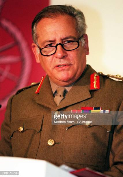 Chief of Defence Staff General Sir Charles Guthrie delivers a press briefing on details of NATO and UK military action against Serbian forces under...