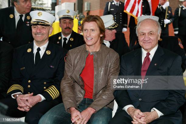 Chief of Department FDNY Salvatore Cassano actor Denis Leary and Fire Commissioner for the City of New York Nicholas Scoppetta attend the dedication...
