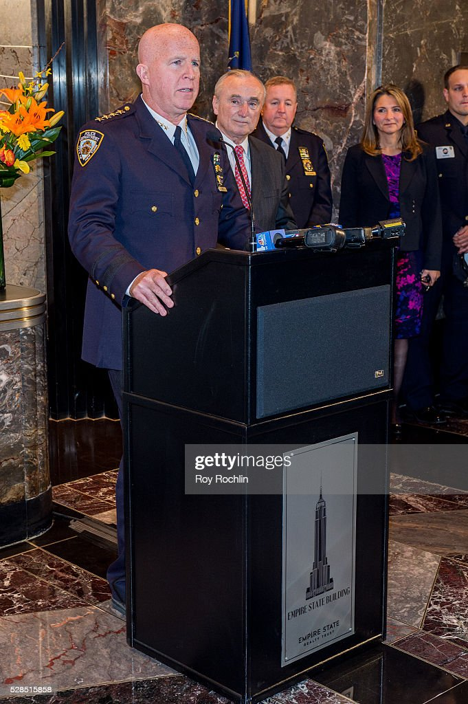 Chief of department James P. O'Neill speaks as NYC Police Commissioner William Bratton lights the Empire State Building in honor of Police Memorial Week on May 5, 2016 in New York City.