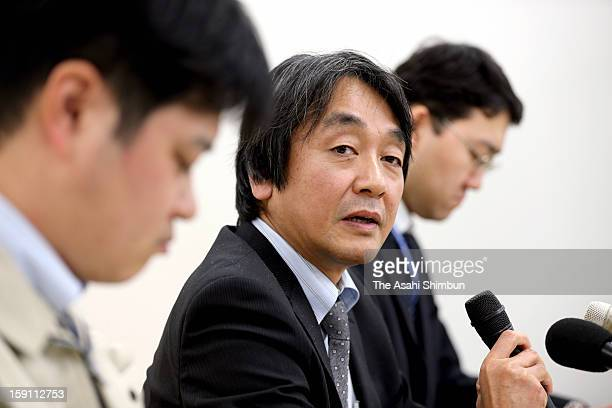 Chief of Environment Ministry Fukushima Office for Environmental Restoration Takashi Omura speaks during a press conference at their office on...