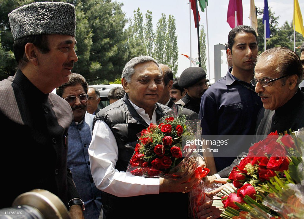 Chief of Jammu and Kashmir Pradesh Congress Committee (JKPCC) Saifuddin Soz (R) greets Janardan Dwivedi (C) and <a gi-track='captionPersonalityLinkClicked' href=/galleries/search?phrase=Ghulam+Nabi+Azad&family=editorial&specificpeople=772783 ng-click='$event.stopPropagation()'>Ghulam Nabi Azad</a> (L) during a one-day Congress delegate convention at SKICC on May 19, 2012 in Srinagar, India. The convention was organized to strengthen the organization of the party at grassroot level in the state.
