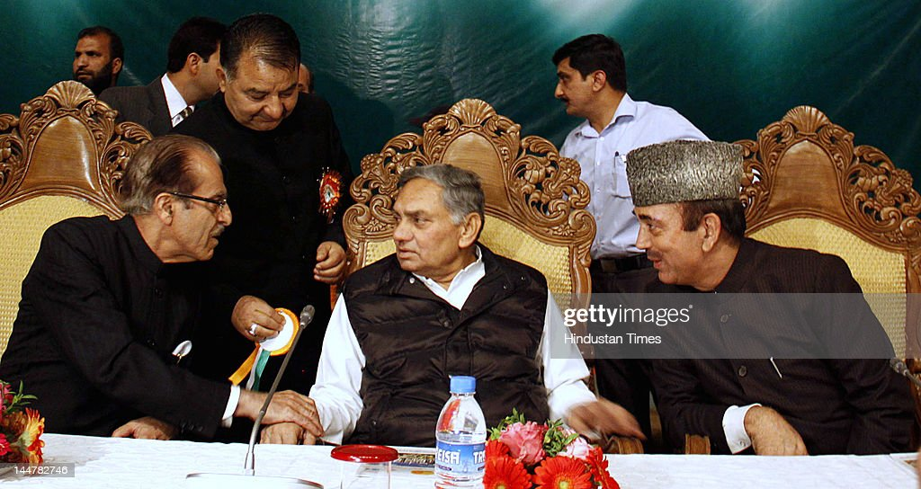 Chief of Jammu and Kashmir Pradesh Congress Committee (JKPCC) Saifuddin Soz, Janardan Dwivedi and <a gi-track='captionPersonalityLinkClicked' href=/galleries/search?phrase=Ghulam+Nabi+Azad&family=editorial&specificpeople=772783 ng-click='$event.stopPropagation()'>Ghulam Nabi Azad</a> attend the one-day Congress delegate convention at SKICC on May 19, 2012 in Srinagar, India. The convention was organized to strengthen the organization of the party at grassroot level in the state.