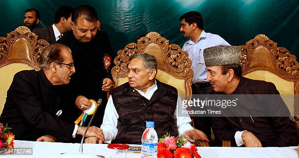 Chief of Jammu and Kashmir Pradesh Congress Committee Saifuddin Soz Janardan Dwivedi and Ghulam Nabi Azad attend the oneday Congress delegate...