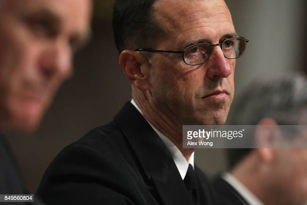 Chief of Naval Operations Adm John Richardson testifies during a hearing before Senate Armed Services Committee September 19 2017 on Capitol Hill in...