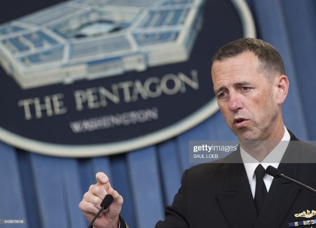 US Chief of Naval Operations Admiral John Richardson speaks about the results of an investigation into a January incident where Iranian forces detained 10 US Navy personnel, during a press briefing at the Pentagon in Washington, DC, June 30, 2016. The US Navy is to discipline eight officers and enlisted personnel after Iran briefly captured two small patrol boats in a humiliating incident in January, an official said Thursday. / AFP / SAUL