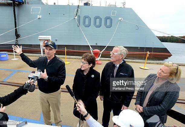 Chief of Naval Operations Admiral Jonathan W Greenert toured the USS Zumwalt at BIW with US Senators Angus King Susan Collins and US Rep Chellie...