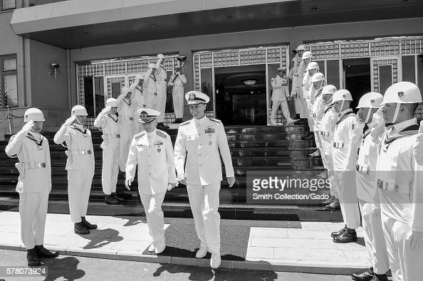 Chief of Naval Operations CNO Admiral Jonathan Greenert departs the Turkish Naval Forces Command headquarters with Turkish Naval Forces Commander...
