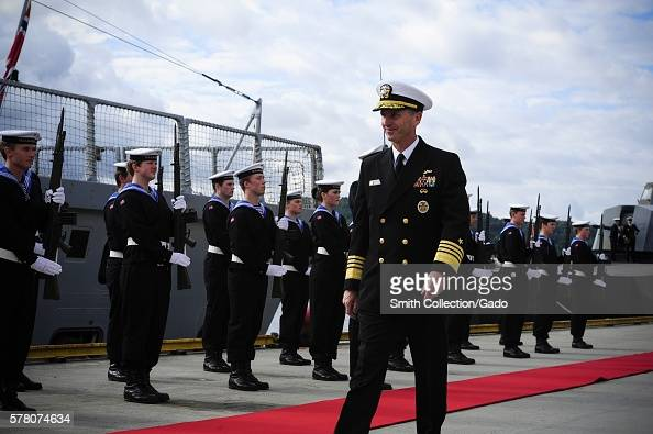 Chief of Naval Operations CNO Admiral Jonathan Greenert inspects the Royal Norwegian navy Honor Guard upon his arrival at Haakonsvern Naval Base...