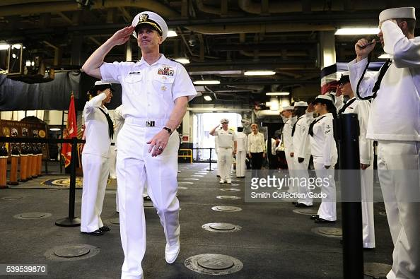 Chief of Naval Operations CNO Admiral Jonathan Greenert is piped over the side after attending a UN Community Advisors Reception aboard the...
