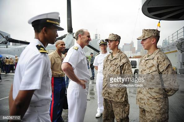 Chief of Naval Operations CNO Admiral Jonathan Greenert meets with Marines aboard the amphibious assault ship USS Wasp LHD 1 during Fleet Week New...