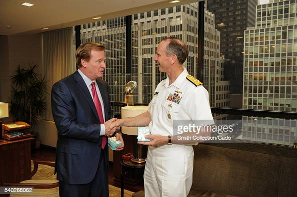 Chief of Naval Operations CNO Admiral Jonathan Greenert meets with NFL Commissioner Roger Goodell at NFL headquarters New York 2012 Image courtesy...
