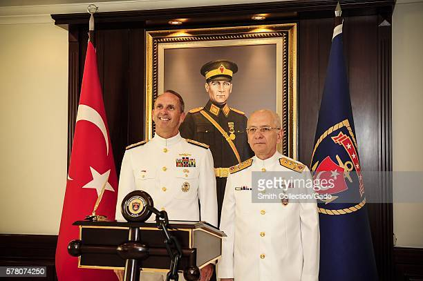 Chief of Naval Operations CNO Admiral Jonathan Greenert poses for a photo with Turkish Naval Forces Commander Admiral Murat Bilgel at the Turkish...
