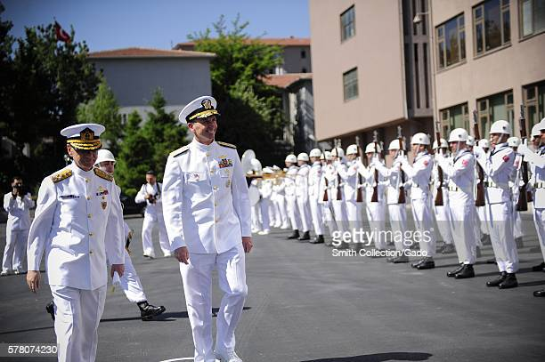 Chief of Naval Operations CNO Admiral Jonathan Greenert smiles during a welcoming reception in his honor at the Turkish Naval Forces Command...