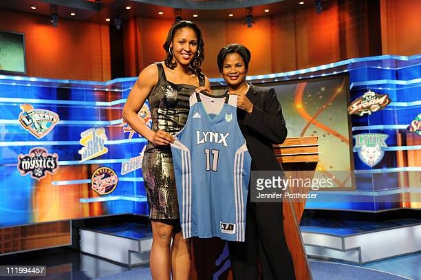 Chief of Operations and Player Relations Renee Brown poses with Maya Moore after being drafted number one overall by the Minnesota Lynx during the...