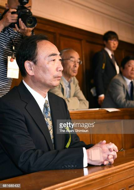 Chief Of Private School Operator Moritomo Gakuen Yasunori Kagoike observes a lower house budget committee during the Asahi Shimbun interview on May 8...