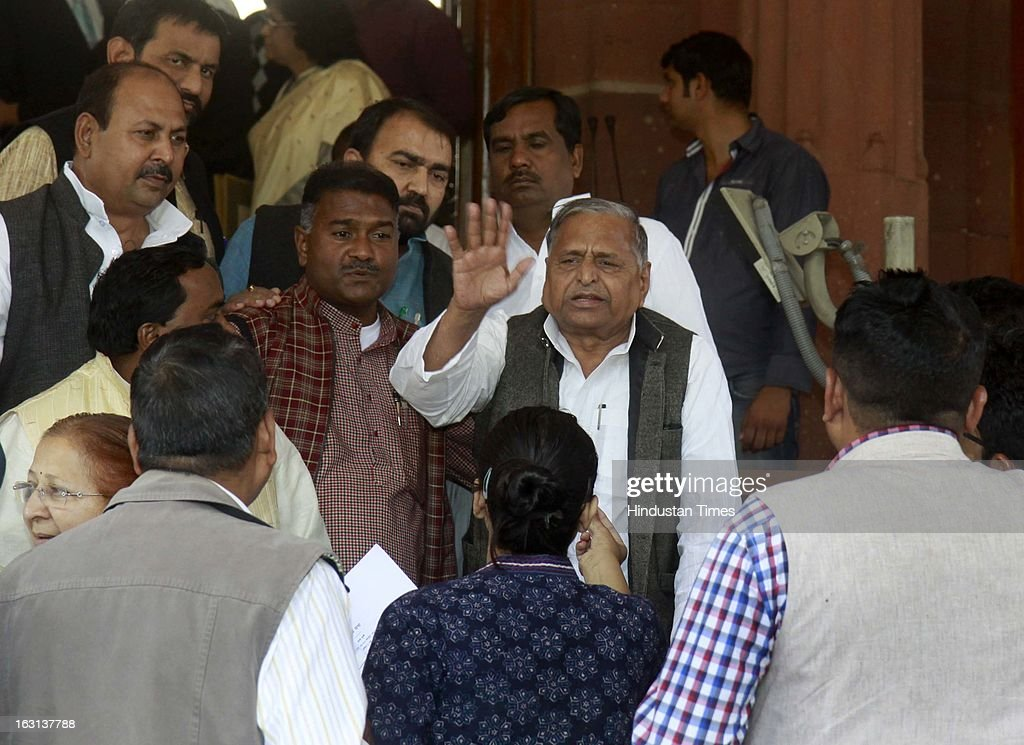 Chief of Samajwadi Party and member of parliament Mulayam Singh talking with media person after attending ongoing parliament budget session on March 5, 2013 in New Delhi, India. Both houses of Parliament were adjourned till noon after opposition parties raised various issues including the killing of a police officer in Uttar Pradesh.