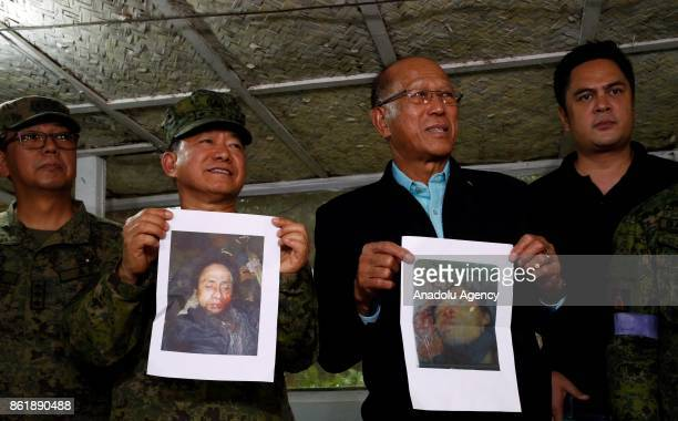 AFP chief of Staff Gen Eduardo And holds the picture of slain Isnilon Hapilon the acknowledged head of the Islamic State in Mindanao who is on the...