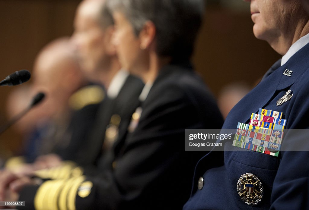 Chief of Staff of the Air Force Gen. Mark Welsh III in the foreground with U.S. military leaders, including all six members of the Joint Chiefs of Staff, testify before the Armed Services Committee hearing on pending legislation regarding sexual assaults in the military in the Senate Hart Office Building on June 4, 2013.