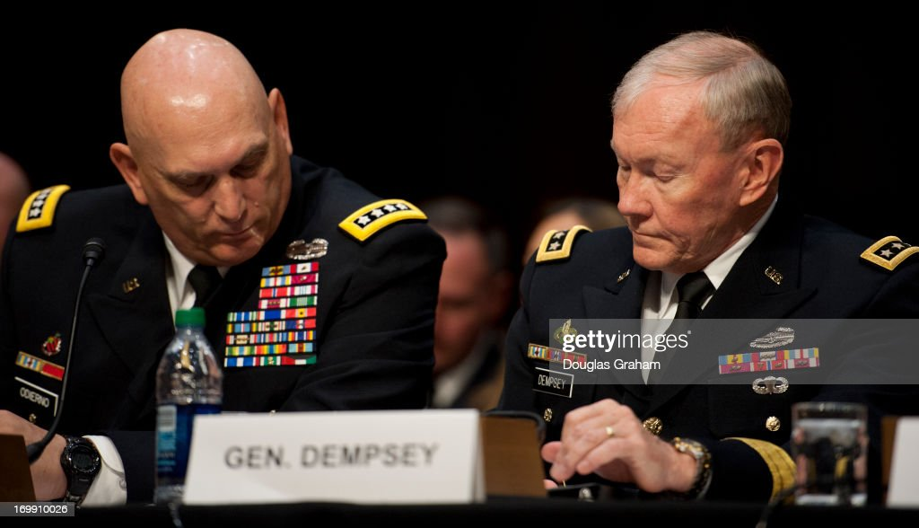 Chief of Staff of the Army General Raymond Odierno and Chairman of the Joint Chiefs of Staff General Martin Dempsey during the Armed Services Committee hearing on pending legislation regarding sexual assaults in the military in the Senate Hart Office Building on June 4, 2013.