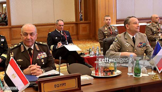 Chief of Staff of the French Army General Pierre de Villiers and Chief of Staff of the Egyptian Armed Forces Mahmoud Ibrahim Hegazy attend a meeting...