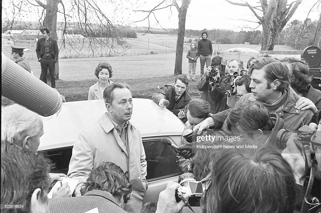 IRA Chief of Staff Sean Mac Stiofain on his release from the Curragh circa April 1973