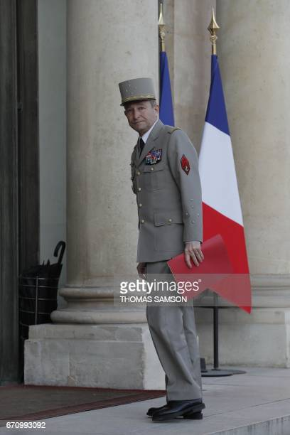 Chief of the Defence Staff French army General Pierre de Villiers arrives for a meeting of the Defense Council on April 21 2017 at the Elysee Palace...