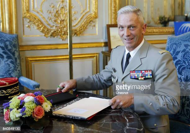 Chief of the Defence Staff of the French Army General Francois Lecointre poses for photographers prior to his meeting with French Minister defence...