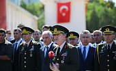 Chief of the General Staff of the Turkish Armed Forces Hulusi Akar speaks to media during his visit the Turkish Police Special Operations Center that...