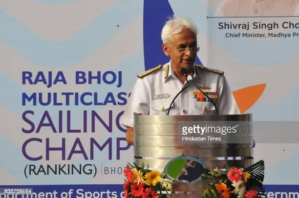 Chief of the Naval staff Indian Navy Admiral Sunil Lanba inaugurates Raja Bhoj multiclass Sailing championship on August 18 2017 in Bhopal India