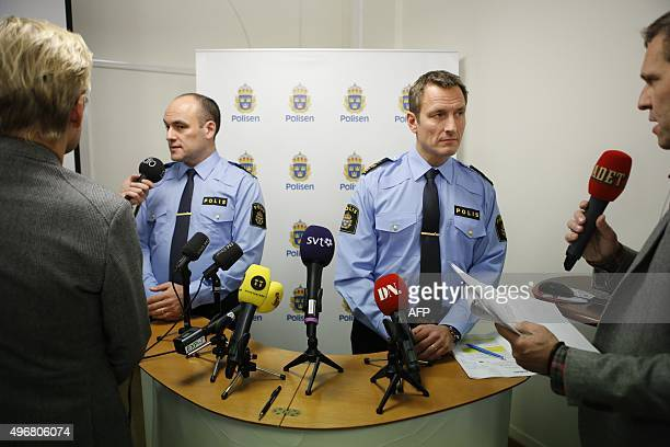 Chief of the Swedish border police Patrik Engström and Thomas Wallberg police commander answer questions from the media during a presser at the...