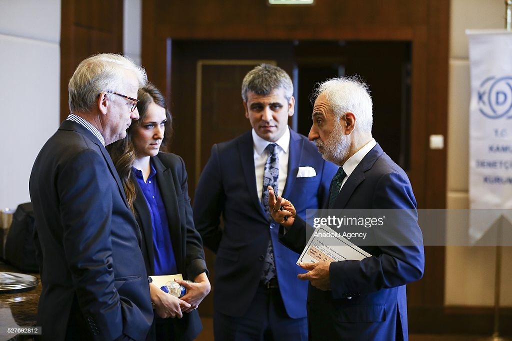 Chief Ombudsman of Turkey Nihat Omeroglu (R) and Head of the EU Delegation to Turkey, Ambassador Hansj��rg Haber (L) talk to each other prior 2nd meeting for the Ambassadors of the European Union countries at JW Marriott Hotel in Ankara, Turkey on May 3, 2016.
