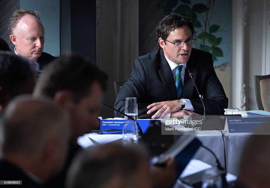 ICC Chief Operating officer and General Council Iain Higgins (R), during the ICC Full Council meeting at The Waldorf Astoria, The Caledonian on June 30, 2016 in Edinburgh, Scotland.