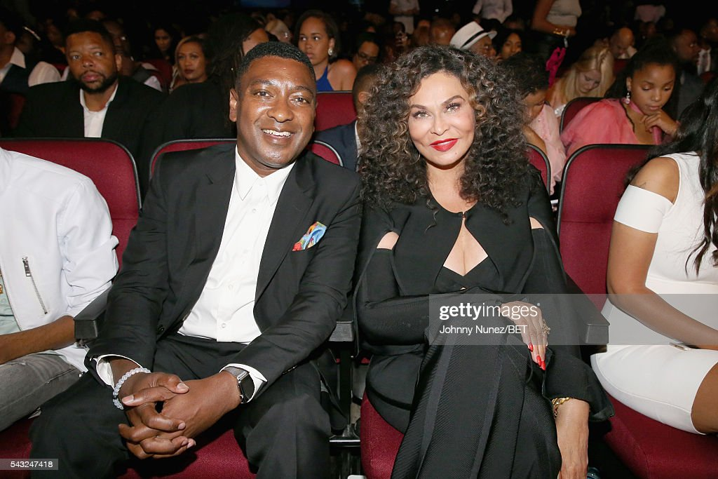 Chief Operating Officer at Parkwood Entertainment Steve Pamon (L) and Tina Knowles attend the 2016 BET Awards at the Microsoft Theater on June 26, 2016 in Los Angeles, California.