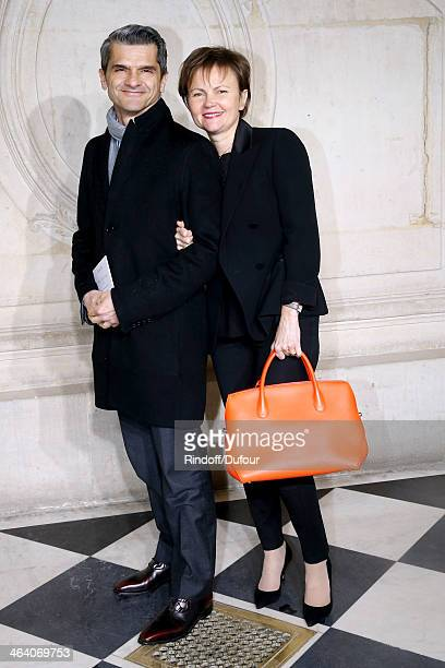 Chief operating officer of Christian Dior Couture Serge Brunschwig with his wife Valerie Brunschwig attend the Christian Dior show as part of Paris...