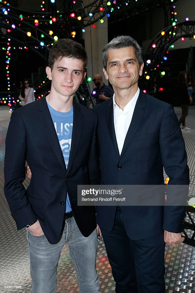 Chief operating officer of Christian Dior Couture, Serge Brunschwig (R) and his son Elie attend the Dior Homme Menswear Spring/Summer 2017 show as part of Paris Fashion Week on June 25, 2016 in Paris, France.