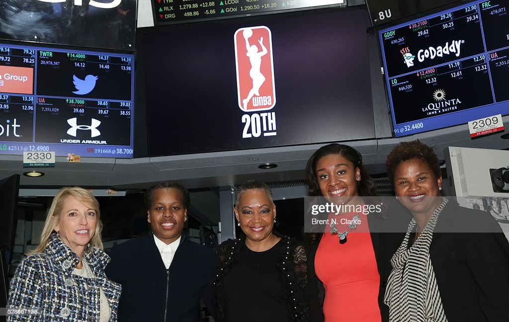 Chief Operating Officer, WNBA Jay Parry, basketball player <a gi-track='captionPersonalityLinkClicked' href=/galleries/search?phrase=Epiphanny+Prince&family=editorial&specificpeople=490901 ng-click='$event.stopPropagation()'>Epiphanny Prince</a>, President of the WNBA <a gi-track='captionPersonalityLinkClicked' href=/galleries/search?phrase=Lisa+Borders&family=editorial&specificpeople=4578856 ng-click='$event.stopPropagation()'>Lisa Borders</a>, basketball player <a gi-track='captionPersonalityLinkClicked' href=/galleries/search?phrase=Morgan+Tuck&family=editorial&specificpeople=9082603 ng-click='$event.stopPropagation()'>Morgan Tuck</a> and Chief of Basketball Operations and Player Relations, WNBA Renee Brown pose for photographs after ringing the NYSE closing bell in celebration of the WNBA's 20th Season on May 6, 2016 in New York City.