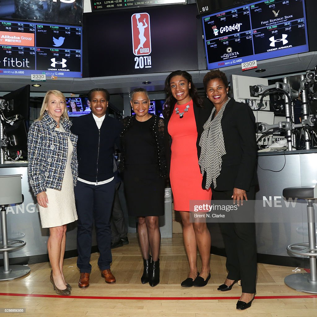 Chief Operating Officer, WNBA Jay Parry, basketball player Epiphanny Prince, President of the WNBA Lisa Borders, basketball player Morgan Tuck and Chief of Basketball Operations and Player Relations, WNBA Renee Brown pose for photographs after ringing the NYSE closing bell in celebration of the WNBA's 20th Season on May 6, 2016 in New York City.